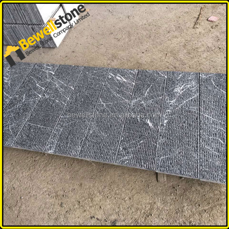 Picked black marble flow tiles for foutain feature wall