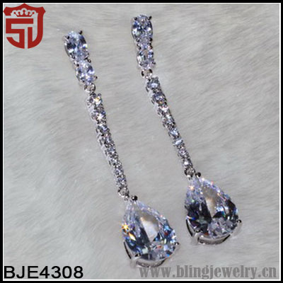 Accent Jewelry Zirconia Paved Teardrop Earrings Costume