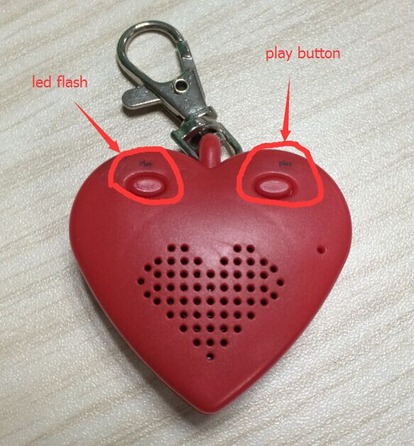 Heartbeat Voice With Red Color Keychain Heart Shape Speaker