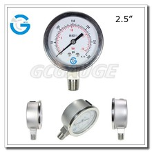 High quality bourdon tube bottom chrome plated case and bezel ring pressure gauge 10bar