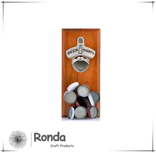 Wooden wall mount bottle opener with magnet, magnetic bottle opener