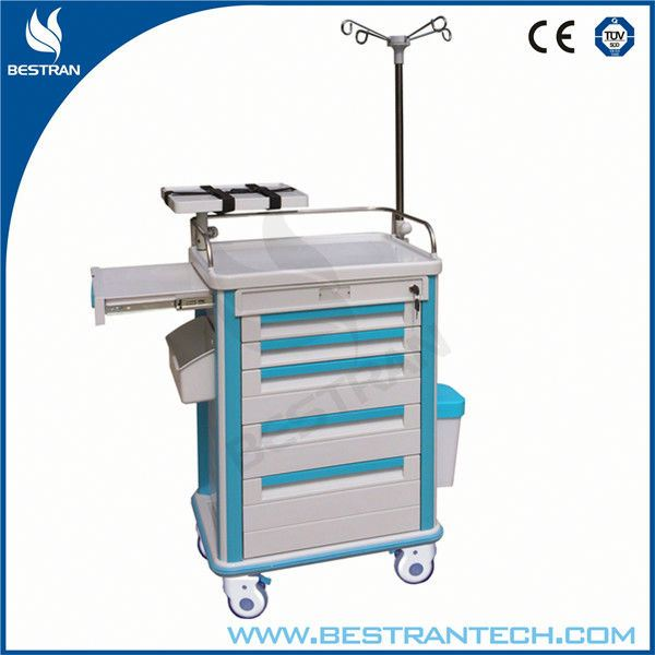 China BT-EY009 Cheap hospital ABS plastic emergency crash cart high quality medical patient transfer trolley