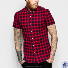 latest design mens short sleeve shirt chest pocket black and red flannel plaid men's shirts