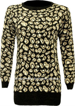 LADIES NEW LEOPARD KNITTED LONG SLEEVE SWEATER - SWEATER MANUFACTURER BANGLADESH