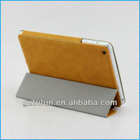 yellow semi-enclosed smart leather cover for ipad mini