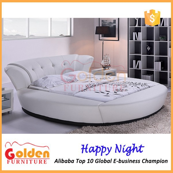 6820# romantic bedroom sex furniture white leather round bed on sale