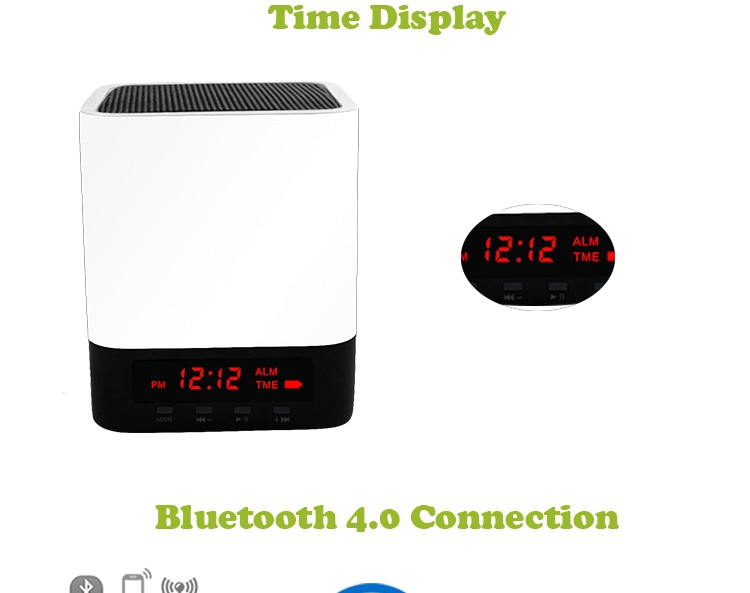 White mini desktop wireless soundbox with LED screen BT4.0 hands free multifunctional alarm clock BT speaker