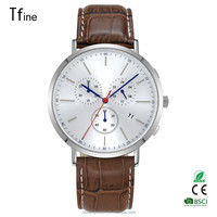 2016 hot selling chronograph men watches with leather strap and japan movt
