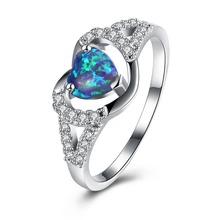 SJ 2018 new design gemstone jewelry GEM029 environment brass cz paved secret mix color opal love ring