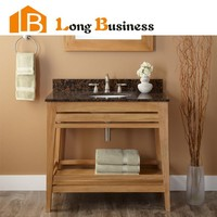LB-LX2031 Easy Install solid wood bathroom cabinet with natural countertop
