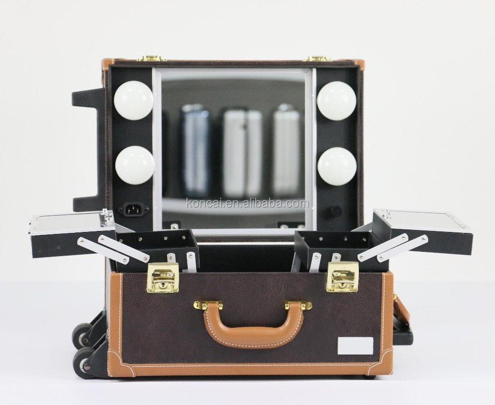 NEW DESIGN trolley makeup case with lights makeup box, rolling makeup case with drawer, professional makeup case with lights
