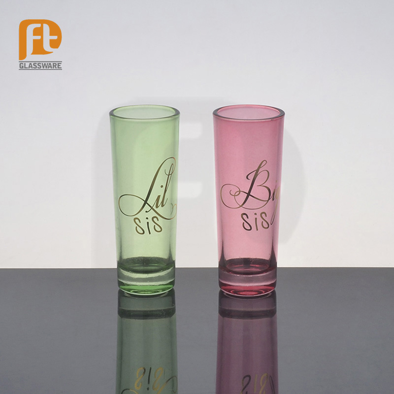 customize personal green,black,pink colorful tequila shot glass with print and gift box