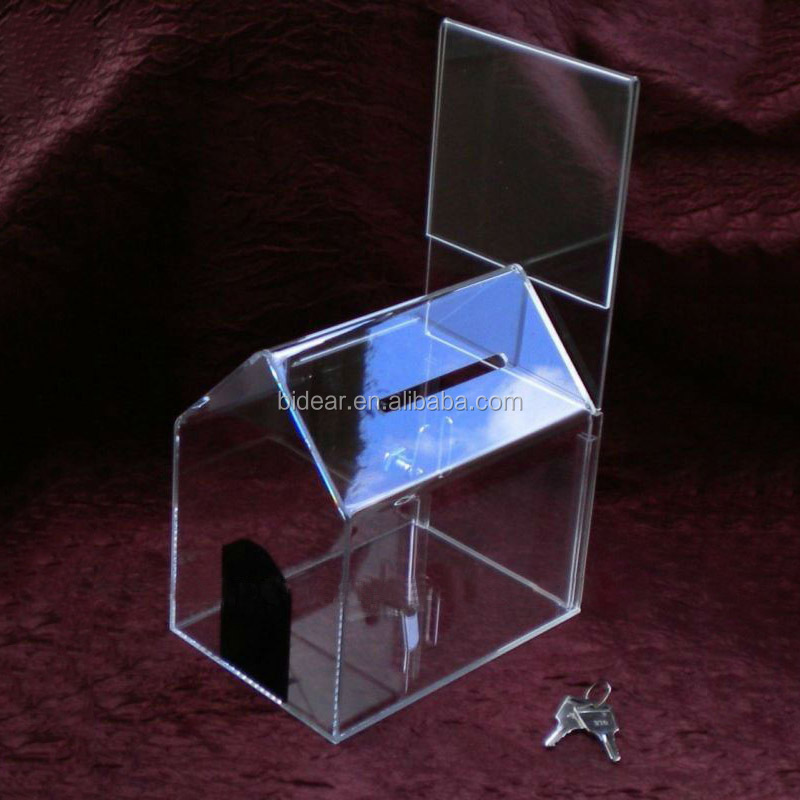 lockable house shaped acrylic donation box with blue roof