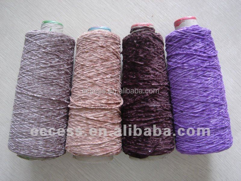 rayon like chenille dyed yarn on cone 100%polyester for knitting weaving