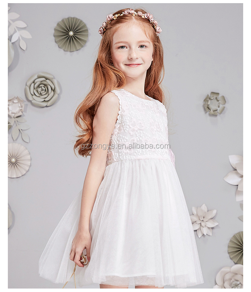 Children's girl summer lace embroidery voile vest dress party dress designs flower girl dress patterns