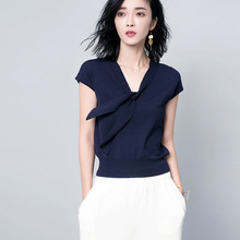 Dvacanman 2017 Butterfly shirt sleeve head tie elegant delicate woman clothes romantic female short sleeve sweater F068-1