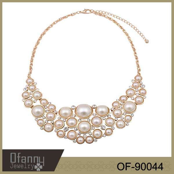 White Bubble Bib Pearl Necklace New Statement Pearl Necklace
