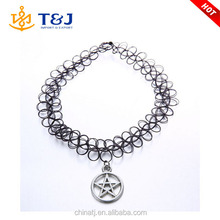 Stretch Tattoo Choker Necklace Hot Selling Vintage Handmade Gothic Punk Grunge Henna Elastic with Pendant Necklaces