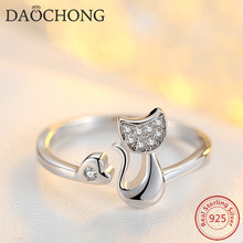 women fashion jewelry 925 sterling silver CZ adjustable cute cat ring