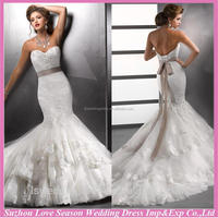 WD1228 Most elegant lace sleeveless shinny beads diamonds ruffled layers tulle skirt removable sash strapless wedding dress