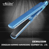 wholesale flat irons blue titanium hair straightener 1 1/4 inch private label