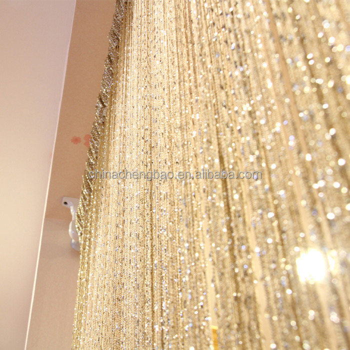 luxury gold string foil bling curtain decoration