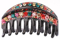 wholesale hair accessories fashion crystal black crystal hair claw