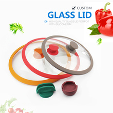 Round silicone rim tempered glass cover of pan