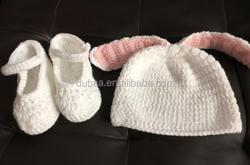 Cute Infant Newborn Baby Girl Boy Hand Knitted Crochet Bunny Ears Hat Shoes Costume Set Baby Photograph Props
