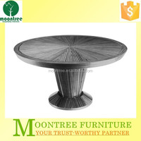 Moontree MDT-1112 antique round oak wood dining table chairs