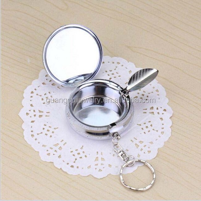 Zinc alloy metal custom made 3d keychain key ring portable pocket ashtray