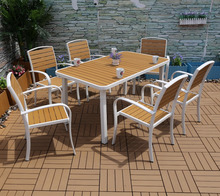2017 7pcs outdoor aluminium plastic wood furniture