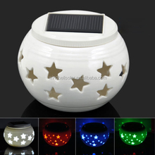 solar ceramic light indoor office color changing table lamp