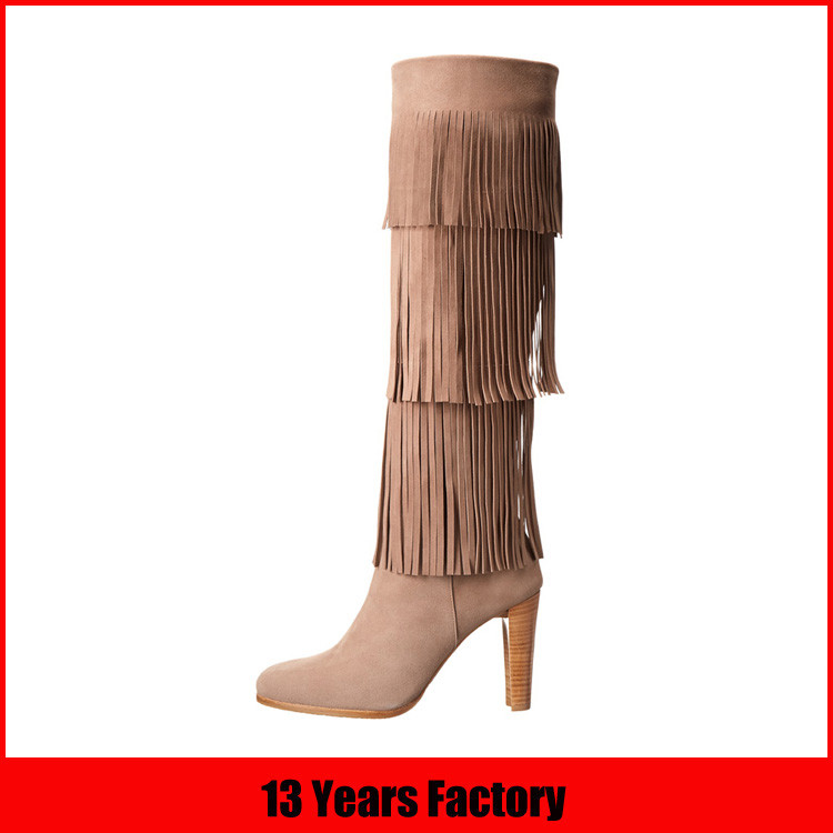rivet strap style nude leather high heel ladies boot