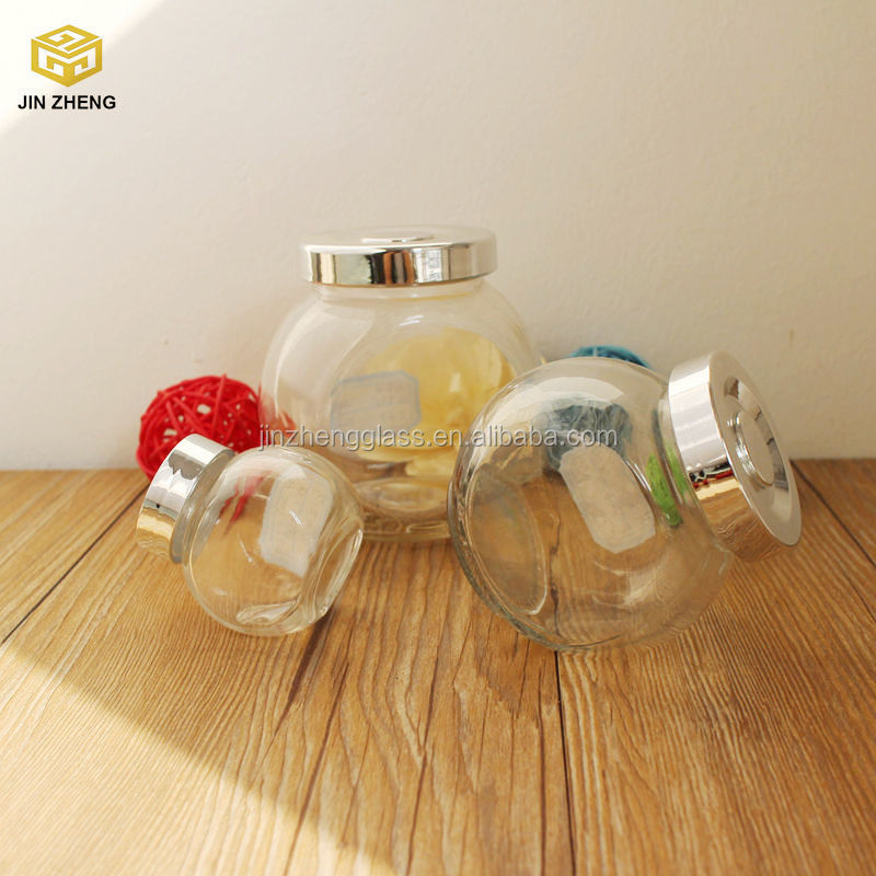 High quality 50ml 180ml 350ml clear glass flat drum canning jar with silver screw cap