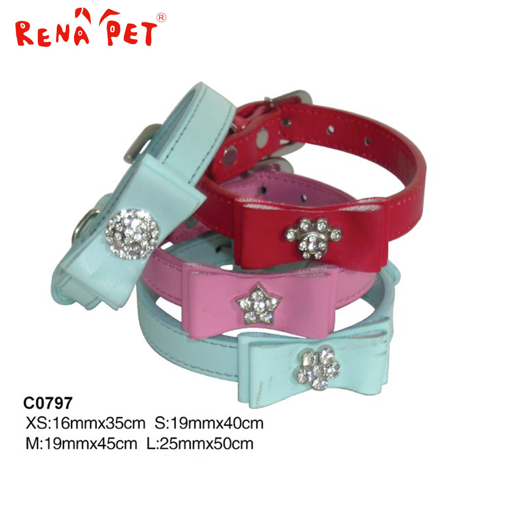2017 china Fashionable Pet Crystal Accessory PU Leather Dog Collar