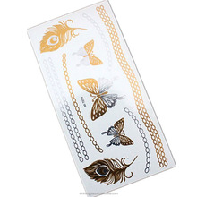 Fashion Customized Metallic Gold Foil Temporary Tattoos, temporary tattoo sticker
