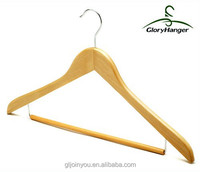 natutal wooden suit hangers with locking bar