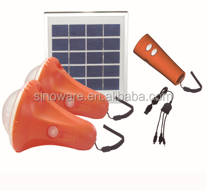 Mini solar power system with mobile phone charger for home indoor lighting