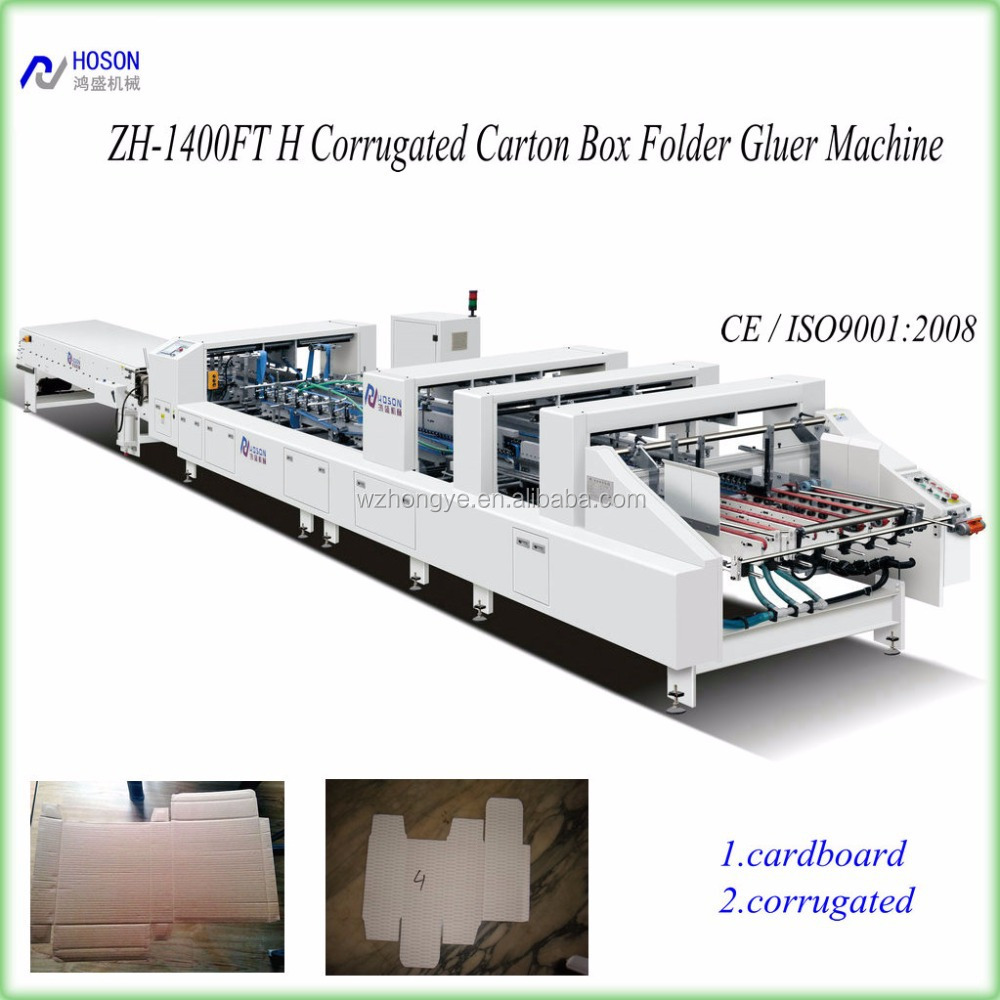 ZH-1600BFT Corrugated Crash Lock Bottom Box Folding Gluing Machine/Folder Gluer