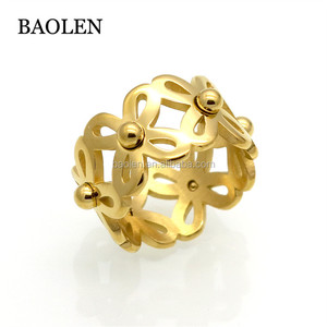 Brand New Flexible Stainless Steel Hollow Flower Geometric Rings For Women Gold Color 11mm Wide Female Ring Trendy Jewelry