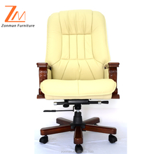 Traditional Italian Leather Throne Chairs With Wooden Base and Wooden Armrest