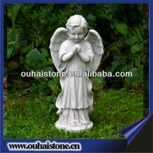 Natural Stone Carving Winged Praying Baby Angel Marble Statues
