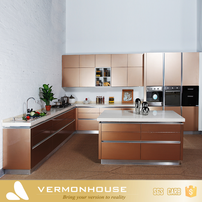 Vermont China Factory Lacquer High Gloss Kitchen Cabinets With Precut Granite Countertop