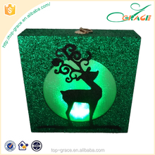 wooden wall hanging craft personalized christmas ornaments with led light