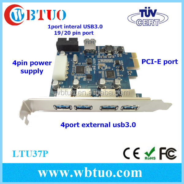 China supplier PCI-e USB 5PORT ADAPTOR INCLUDE 4EXTERNAL +1 INTERNAL PORTS