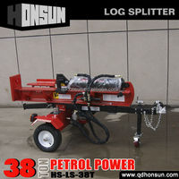 Patent design Wood Processing cutting tool trailer 38 tonne gas engine log splitter