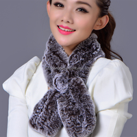 Top Quality Knitted Rex rabbit fur scarf