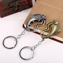 high quality game of thrones house tully fish emblem zinc alloy 3d keychain