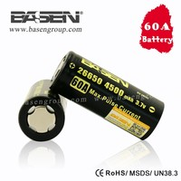 whole sale 26650 battery Basen 60amp high drain imr 26650 4500mah imr26650 rechargeable battery for dewalt power tools